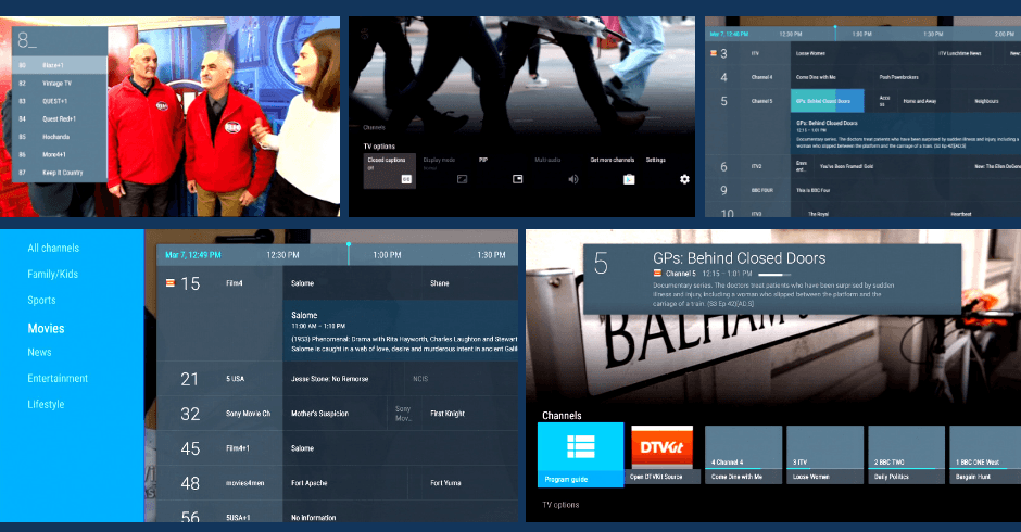 These images show the UI of the DTVKit Android TV solution