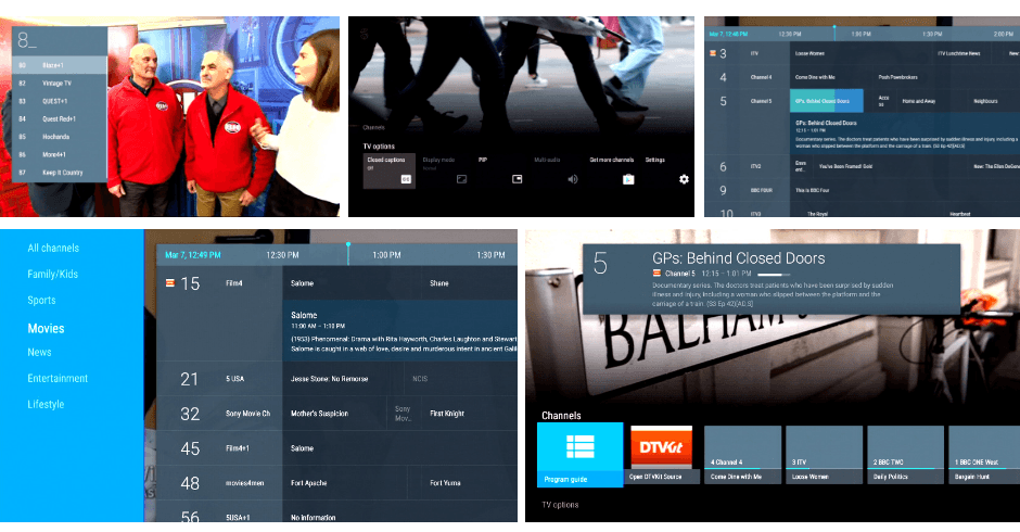 Android TV user interface showing the EPG, Channels and TV guide